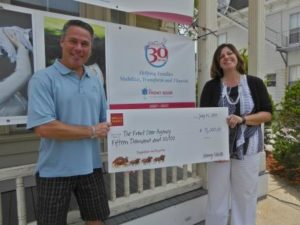 Bedford Branch Manager Ed Johnson presents Front Door CEO Maryse Wirbal with a $15,000 grant from the Wells Fargo Foundation.